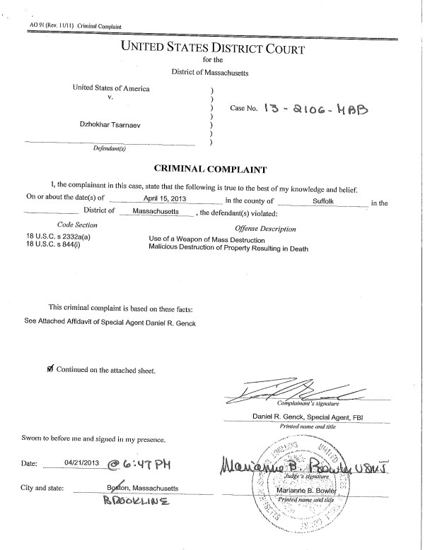 Tsarnaev Case Document