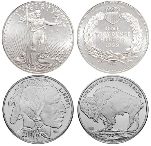 buffalo-gauden-silver-round-comparison