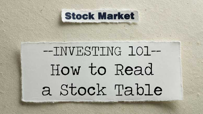 How to Read a Stock Table - Read Stock Table - Reading Stock Quote Table