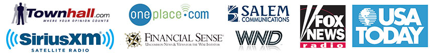 Radio network logos on which Jerry Robinson has spoken about the Profit Trakker trading system