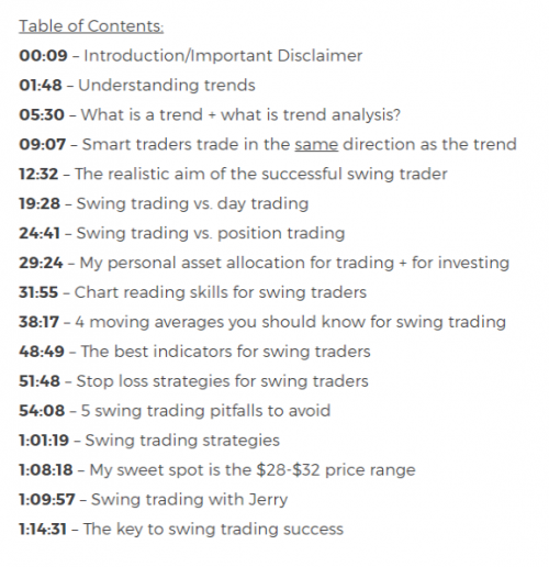 Swing Trading Course Outline